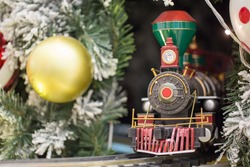 Miniature train with Christams decoration