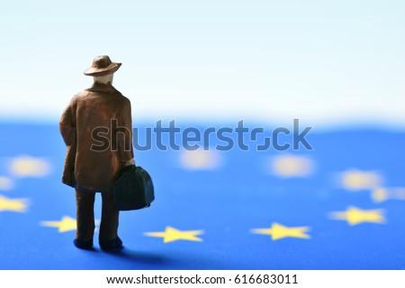 miniature traveler man seen...