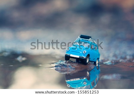 miniature travelling car with...