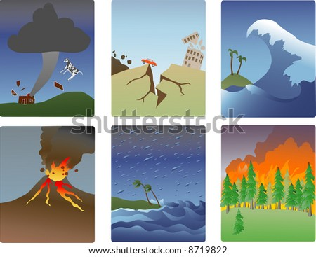 miniature vector illustrations of various natural disasters-tornado, earthquake, tsunami, volcano, hurricane, forest fire