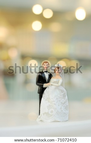 miniature wedding doll with blur background