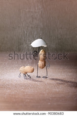 Miniature with Peanut Man and Dog under umbrella