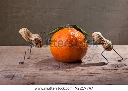 Miniature with Peanut People working against each other, failing to move the orange