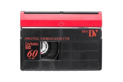 MiniDV video cassette isolated on white background with clipping path
