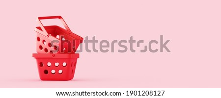 Minimal abstract background for online food and grocery concept. Red empty shopping basket on pink background. 3d rendering illustration. Clipping path of each element included.