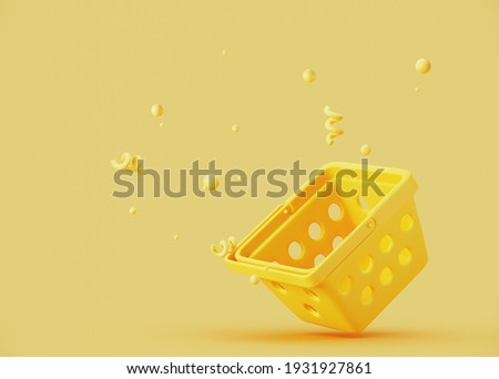 Minimal abstract background for online food and grocery concept. Yellow empty shopping basket on yellow background. 3d rendering illustration. Clipping path of each element included. Foto stock ©