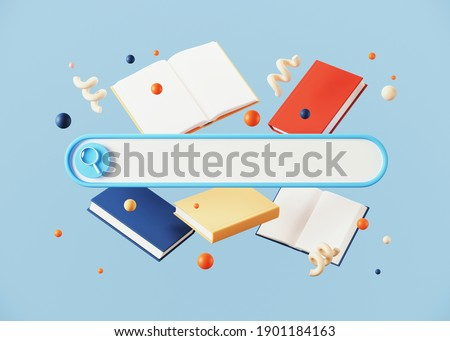 Minimal abstract background for online learning and education concept. Blank web search bar and book on blue background. 3d rendering illustration. Clipping path of each element included.