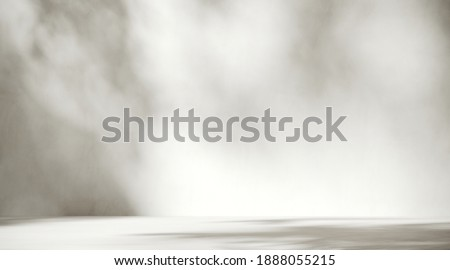 Minimal abstract background for product presentation. Sunshade shadow on white plaster wall. 3d render illustration. Clipping path of each element included. Foto d'archivio ©