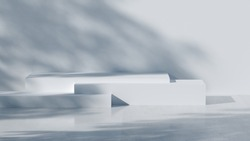 minimal abstract geometric podium scene 3d rendering with white concrete wall and tree shadow for presentation product