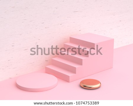 minimal abstract geometric shape white wood pink wall scene  3d rendering