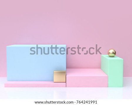 minimal abstract pink background blue square 3d rendering