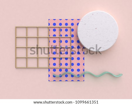 minimal abstract pink blue pattern flat lay background 3d rendering