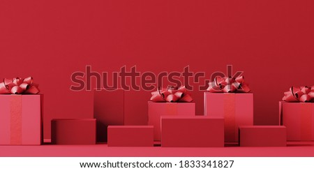 Minimal abstract product background for Christmas, New year and sale event concept. Red gift box with red ribbon bow on red background. 3d render illustration. Clipping path of each element included. Foto d'archivio ©