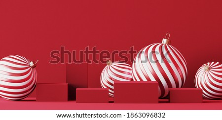 Minimal abstract product background for Christmas, New year and sale event concept. Red stripe bauble and podium on red background. 3d render illustration. Clipping path of each element included.