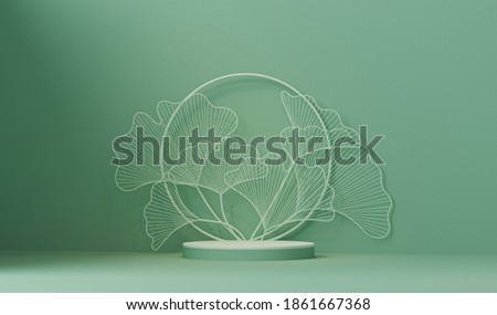 Minimal abstract scene with geometric shapes. Podium on white and green background with leaves. product presentation, mockup, cosmetic product presentation, Podium, scenography or platform. 3d render