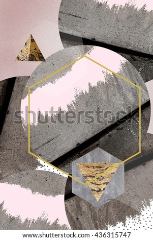 Minimal and trendy poster or card design. Abstract composition with textured geometric shapes and brush stroke. Artistic creative background with concrete and modern textures.