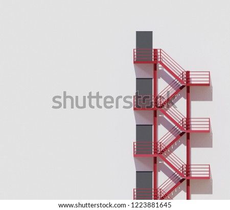 minimal architecture building white wall red stairs ,3d rendering