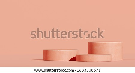 Minimal background for branding and packaging presentation. Coral podium with coral background. 3d rendering illustration.