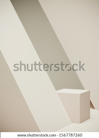 Minimal background for branding and packaging presentation. Off white geometric podium on off white background. 3d rendering illustration.