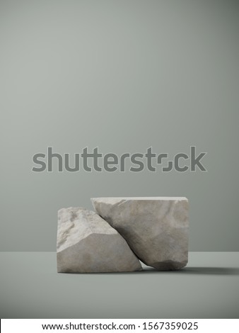Minimal background for branding and packaging presentation. Random shape sand stone on sage green background. 3d rendering illustration.