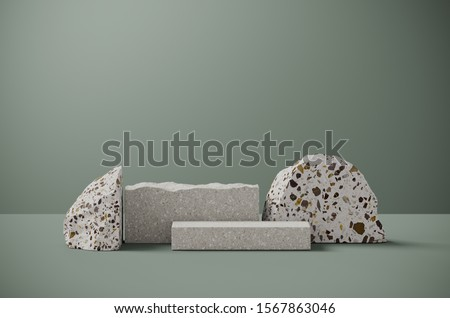Minimal background for branding and packaging presentation. Random shape terrazzo on sage green background. 3d rendering illustration.