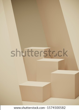 Minimal background for branding and packaging presentation. Tan color geometric podium. 3d rendering illustration.