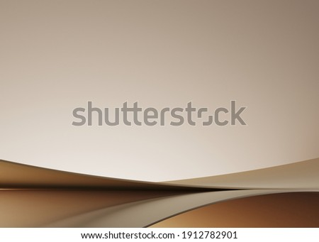 Minimal background for branding and product presentation. Beige podium on beige background. 3d rendering illustration. Clipping path of each element included.