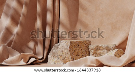 Minimal background for branding and product presentation. Beige terrazzo podium on beige fabric background with shadow of leaf. 3d rendering illustration.