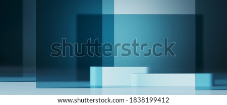 Minimal background for branding and product presentation. Blue frosted glass panel and blue podium on blue background. 3d rendering illustration. Clipping path of each element included.