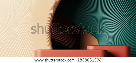 Minimal background for branding and product presentation. Colorful podium with subtle circular geometric pattern. 3d rendering illustration. Clipping path of each element included. Photo stock ©