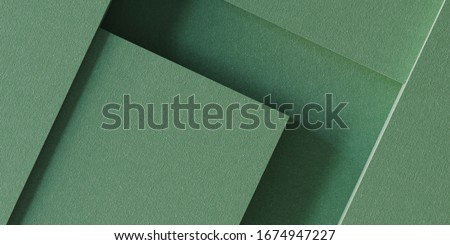 Minimal background for branding and product presentation. Green fabric geometric background. 3d rendering illustration.