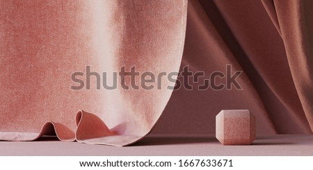 Minimal background for branding and product presentation. Red fabric podium and red fabric background. 3d rendering illustration.