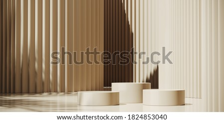 Minimal background for branding and product presentation. Sunshade shadow on beige corrugated panel background. 3d rendering illustration. Clipping path of each element included. ストックフォト ©