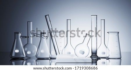 Minimal background for branding and product presentation. White marble podium and set of laboratory glassware on white background. 3d rendering illustration.