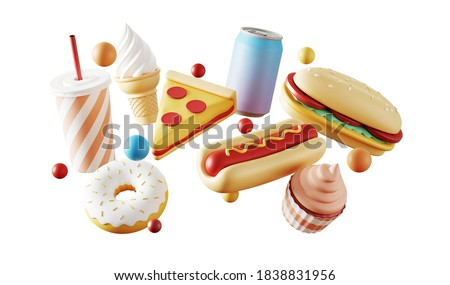Minimal background for fast food concept. Food and beverage on white background. 3d rendering illustration. Clipping path of each element included.