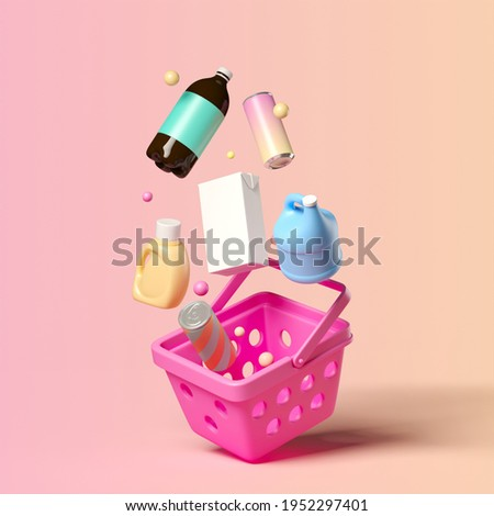 Minimal background for online shopping and digital marketing concept. Basket and grocery on pink background. 3d rendering illustration. Clipping path of each element included.