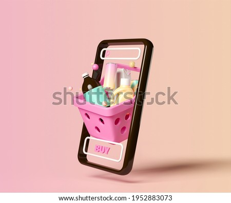 Minimal background for online shopping and digital marketing concept. Mobile phone with grocery and basket on pink background. 3d rendering illustration. Clipping path of each element included. Foto stock ©