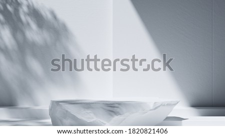 Minimal background for product and cosmetic presentation. Marble stone podium in front of Sunshade shadow on white concrete wall. 3d render illustration.