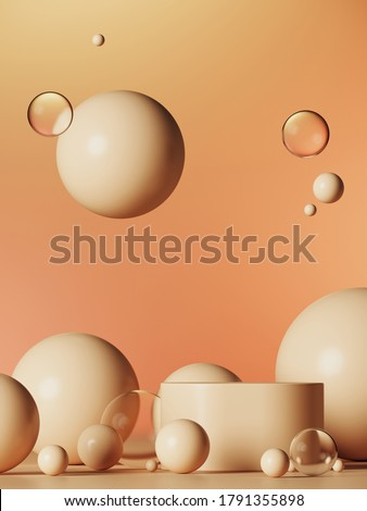 Minimal background for product presentation. Beige podium with spheres and bubbles ball on beige colors background. 3d rendering illustration. Object isolate clipping path included. stock photo