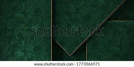 Minimal background for product presentation. Green velvet tray with brass edge. 3d render illustration. Clipping path of each element included. Foto stock ©