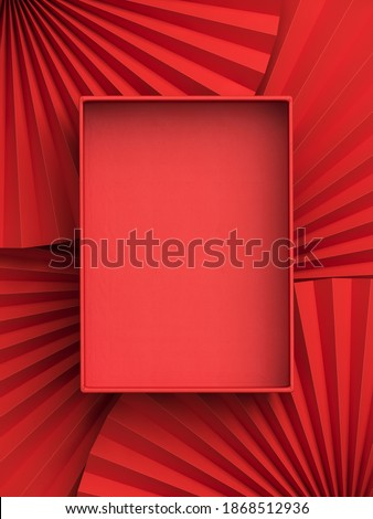 Minimal beauty mockup for product presentation. Red blank open paper box on red paper fan medallion background. 3d render illustration. Clipping path of each element included.