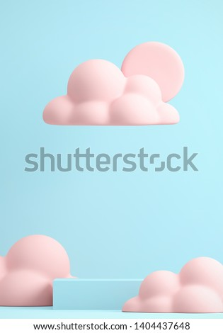 Minimal Beverage background for coffee tea smoothie drink presentation. Blue podium and pink cloud scene. Cafe poster templates mock up illustration. 3d render illustration.