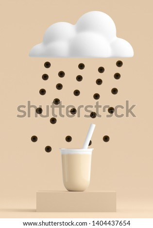 Minimal Beverage background for coffee tea smoothie drink presentation. Brown podium and white cloud and bubble tea scene. Cafe poster templates mock up illustration. 3d render illustration.