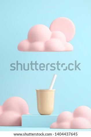 Minimal Beverage background for coffee tea smoothie drink presentation. Milk tea cup on blue podium and pink cloud   scene. Cafe poster templates mock up illustration. 3d render illustration.