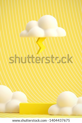Minimal Beverage background for coffee tea smoothie drink presentation. Yellow podium and white cloud on yellow strip pattern scene. Cafe poster templates mockup. 3d render illustration.