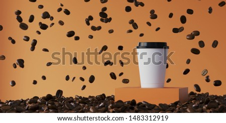 Minimal Beverage background for creative presentation.Hot coffee paper cup on podium and brown roasted coffee beans falling on brown background. Cafe poster templates mock up. 3d render illustration.