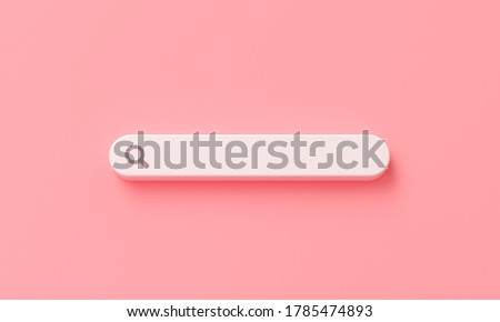 minimal blank search bar on pink background. web search concept. 3d rendering