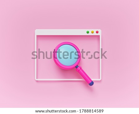 minimal cartoon style magnifying glass icon with computer window. online Browser search concept. 3d rendering