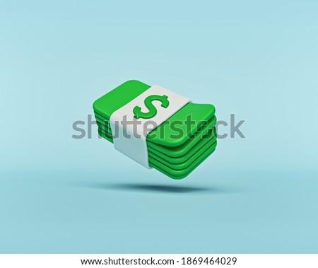 minimal cartoon style money dollar cash icon isolated. 3d rendering