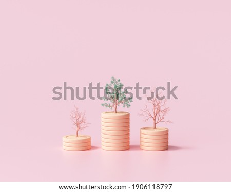 Minimal Coin stacks growing graph with trees on pink background. Growing trees on coin stacks, Business investment and saving money concept. 3d render illustration